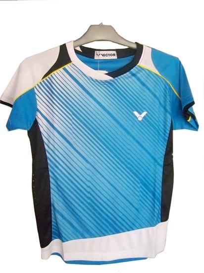 Áo cầu lông Victor Olympic trắng xanh 2036