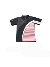 Áo Cầu Lông SFD 004 đen phối sọc ngang trắng đỏ