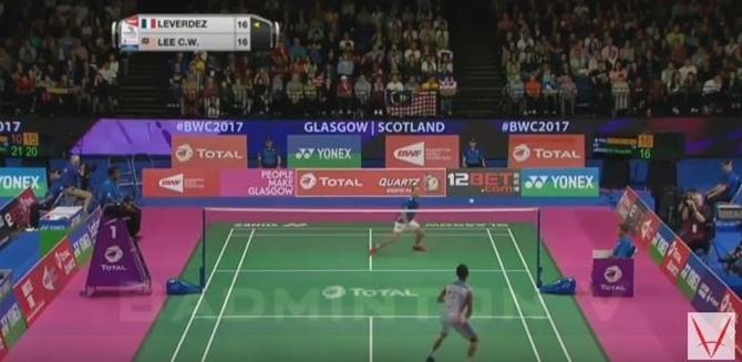 Giải cầu lông Vô Địch Thế Giới 2017: Clip tổng hợp trận đơn nam giữa Lee Chong Wei vs Brice LEVERDEZ