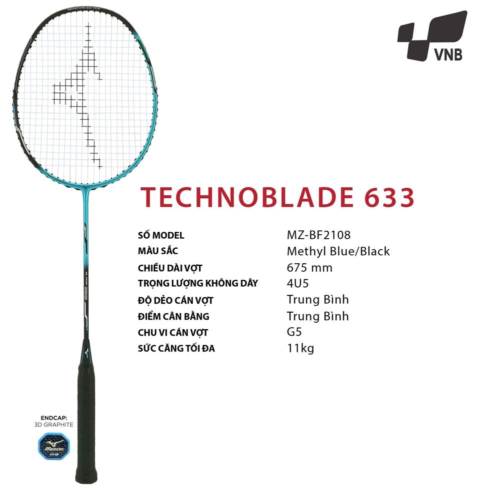 Vợt cầu lông Mizuno Technoblade 633 Đen - Xanh Ngọc