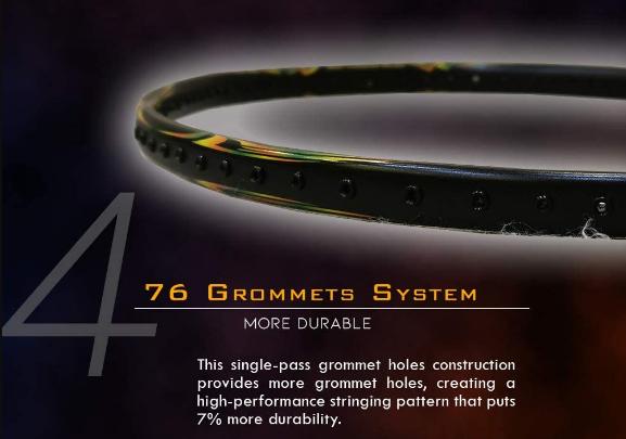 76 Grommets System - Vợt cầu lông Apacs EDGE SABER 7 (BLACK)