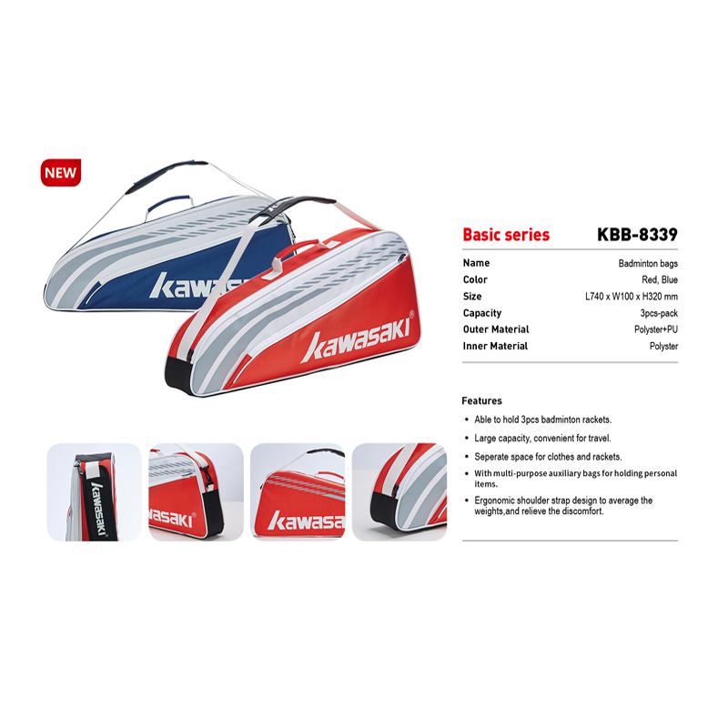 Túi cầu lông Kawasaki 8339 trắng đỏ chính hãng