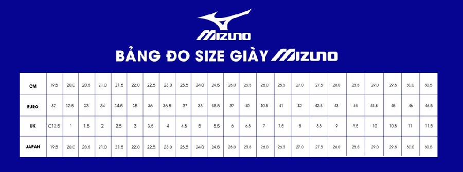 Bảng size giày cầu lông Mizuno bao gồm giày cầu lông cao cấp Mizuno Wave Fang NX - Xanh trắng hồng