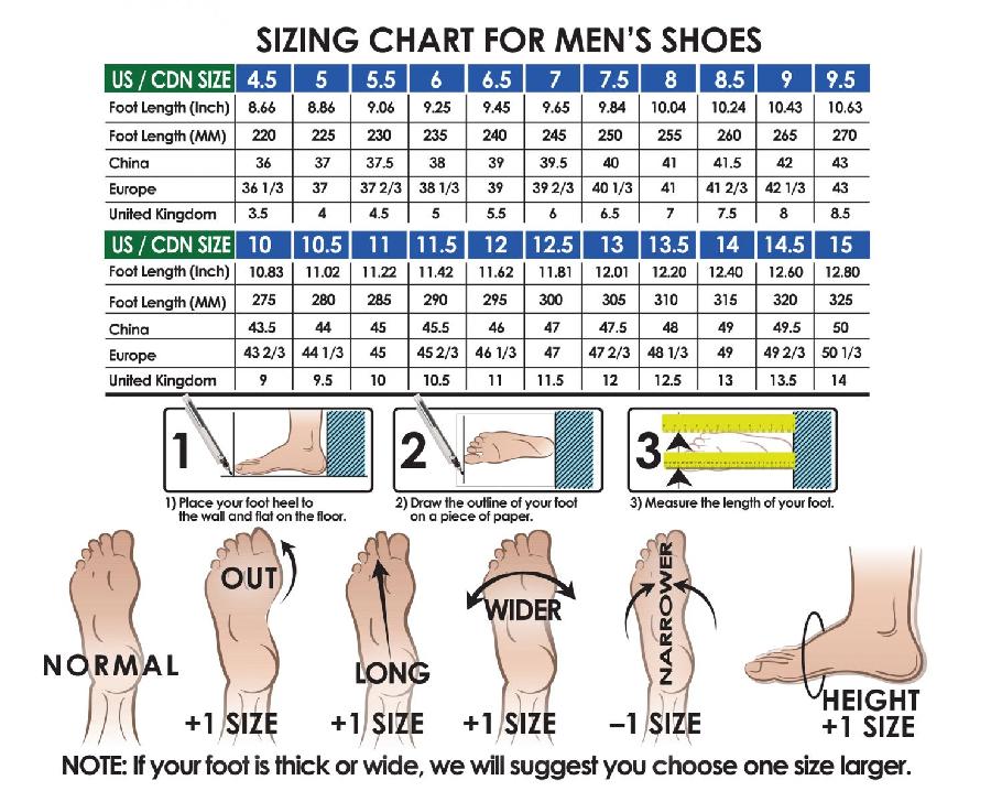 Bảng size giày cầu lông Lining AYAR006-1 chính hãng